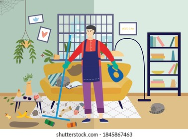Cleaner man cleaning very dirty living room at home, flat vector illustration. Colorful background showing a house in disarray and disorder before cleaning.