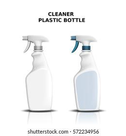 Cleaner plastic bottle mockup, two spray bottles for design isolated on white background in 3d illustration