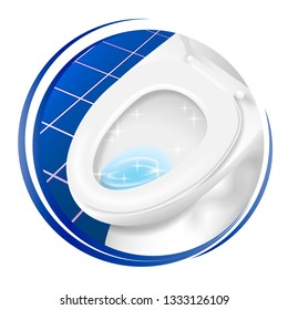Cleaner toilet icon. symbol, logo, sign, sticker, label, tag, banner. Round Style graphic design template. Isolated background. Made for rest room, toilet cleaner. Vector illustration.