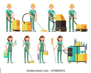 Cleaner vector characters with cleaning equipment. Cleaning company team in uniform vector set. Cleaner with bucket, character man profession cleaner illustration