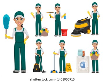 Cleaner woman. Cheerful cartoon character, set of seven poses. Cleaning service concept. Vector illustration isolated on white background