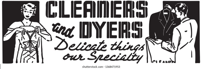 Cleaners And Dyers - Retro Ad Art Banner