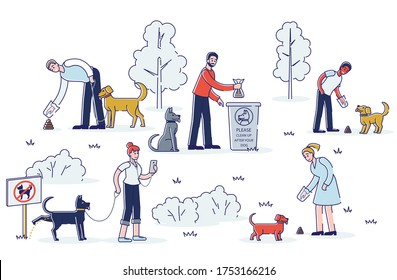Cleaning after dog. Set of pet owners picking up pets waste during walk in public park. Animal responsibility of trash clean rules concept. Linear vector illustration