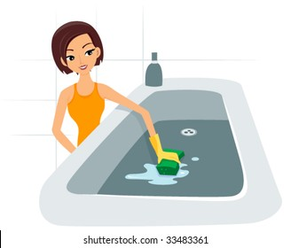 Cleaning Bath Tub - Vector