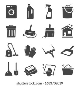 Cleaning black icon, domestic equipment and service. Professional home hygiene, housecleaning supplies. Vector cleanup signs illustration