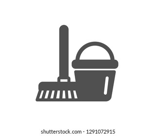Cleaning bucket with mop icon. Washing Housekeeping equipment sign. Quality design element. Classic style icon. Vector
