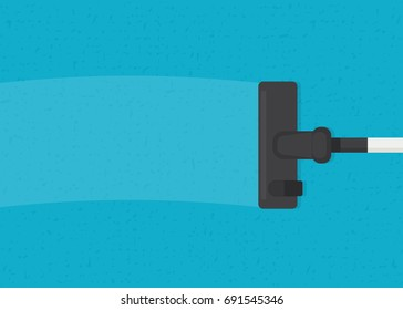 Cleaning the carpet with vacuum cleaner. top view vector image