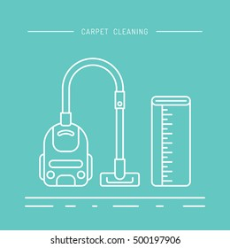 Cleaning of carpets with vacuum cleaner and detergents drawn in a linear style. Vector logo of the cleaning company, booklet, flyer