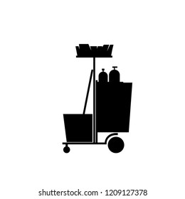 Cleaning cart silhouette icon. Clipart image isolated on white background
