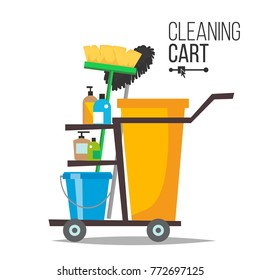 Cleaning Cart Vector. Classic Trolley Cleaning Service Cart. Broom, Bucket, Detergents, Cleaning Tools, Supplies. Yellow Plastic Janitor Cart With Shelves Isolated Illustration