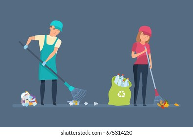 Cleaning city. Household waste, recycling. Charitable affairs. Young volunteers are engaged in cleaning territory of garbage, for further wasteless processing. Vector illustration in cartoon style.