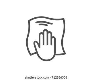 Cleaning cloth line icon. Wipe with a rag symbol. Housekeeping equipment sign. Quality design element. Editable stroke. Vector