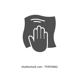 Cleaning cloth simple icon. Wipe with a rag symbol. Housekeeping equipment sign. Quality design elements. Classic style. Vector