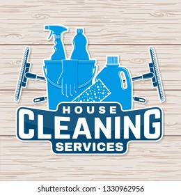 Cleaning company badge, emblem. Vector illustration. Concept for patch, print, stamp or sticker. Vintage typography design with cleaning equipments. Cleaning service sign for company related business
