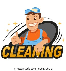 Cleaning company logo with a male cleaner in work clothes. Vector illustration isolated on white background.