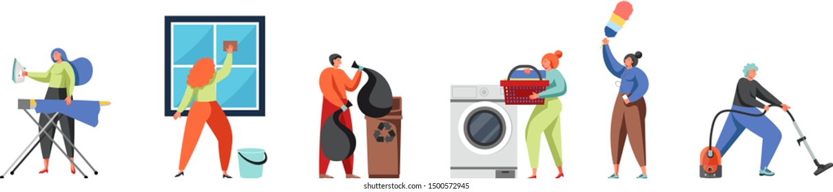 Cleaning company staff cleaner lady, janitor man with house cleaning equipment, vector flat isolated illustration. Window cleaning, laundry, ironing, dusting, doing vacuuming, garbage collection.