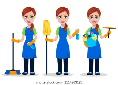 Cleaning company staff in uniform, set of three poses. Woman cartoon character cleaner with brush, with broom and sprayer and with scraper and bucket full of detergents. Vector illustration.