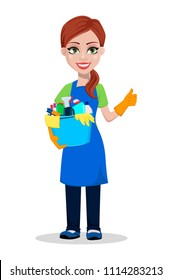 Cleaning company staff in uniform. Woman cartoon character cleaner holding bucket with detergents and showing thumb up gesture. Vector illustration on white background