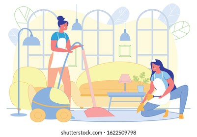 Cleaning Company Woman Workers Cleaning Dust and Vacuumimg Floor in House Living Room Flat Cartoon Vector Illustration. Cleaning Service Concept. Characters Tidying Apartment. Sofa and Armchair.
