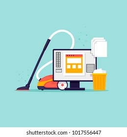 Cleaning the computer. Flat design vector illustration.