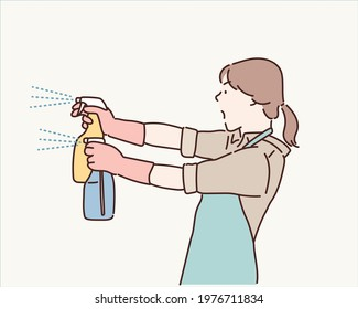 Cleaning concept. Woman hand in yellow rubber protective gloves hold cleaning agent bottle. Hand drawn style vector design illustrations.