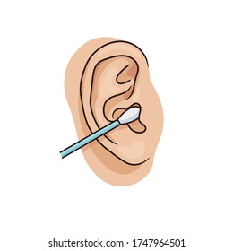 Cleaning the ear canal with a cotton swab. Illustration of unhealthy habit. Removing earwax with cotton bud. Vector illustration of human ear closeup on white background. Realistic style.