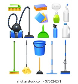 Cleaning equipment and accessories realistic icons collection with vacuum cleaner brushes and mops abstract isolated vector illustration