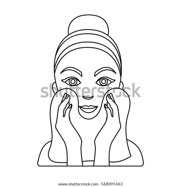 Cleaning of face skin icon in outline style isolated on white background. Skin care symbol stock vector illustration.