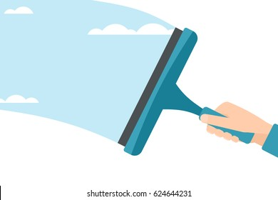 Cleaning glass with a squeegee. vector illustration