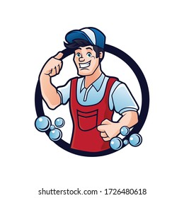 Cleaning guy mascot for cleaning services