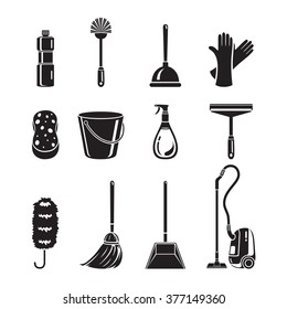 Cleaning, Home Appliances Icons Set, Monochrome, Housework, Domestic Tools, Spring Season