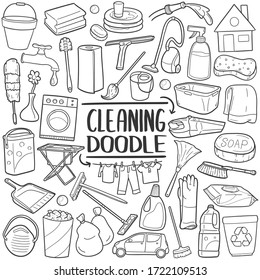 Cleaning Home doodle icon set. Cleanup House Tools Vector illustration collection. Hand drawn Line art style.