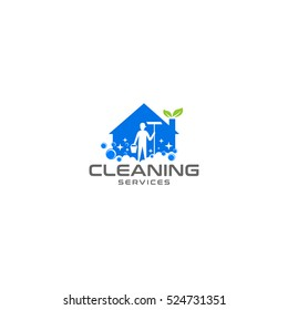 Cleaning home, cleaning services logo