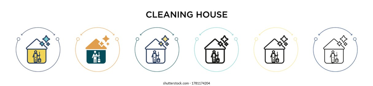 Cleaning house icon in filled, thin line, outline and stroke style. Vector illustration of two colored and black cleaning house vector icons designs can be used for mobile, ui, web