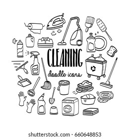 Cleaning and housekeeping hand drawn doodle icons set. Cleaning services.