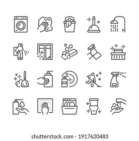 Cleaning housekeeping washing line icon isolated set. Vector flat graphic design illustration