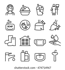 Cleaning , Housekeeping , wipe, washing icon set in thin line style