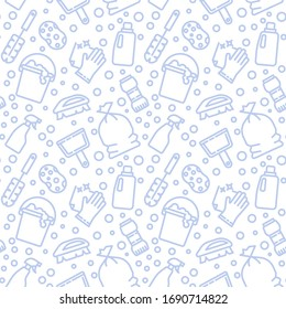 Cleaning, housework icons pattern. Maid service seamless background. Seamless pattern vector illustration