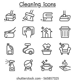 Cleaning & Hygiene icon set in thin line style