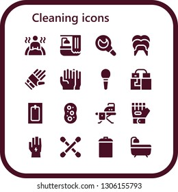 cleaning icon set. 16 filled cleaning icons.  Collection Of - Bath, Enema, Dental, Gloves, Sponge, Ironing board, Glove, Cotton swab, Garbage