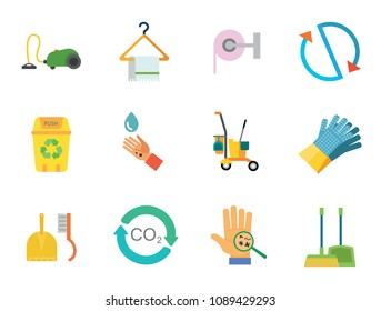 Cleaning Icon Set. Cleaning Service Cart Circulation Carbon Dioxide Cycle Dustpan And Broom Towel Toilet Paper Sweeping Brush House Gloves Vacuum Cleaner Waste Basket Recycle Bin Hand With Bacteria