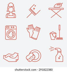 Cleaning Icons, flat design, thin line style