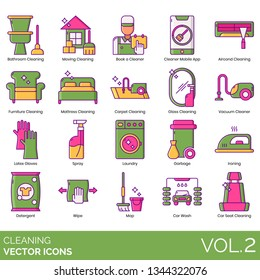 Cleaning icons including bathroom, moving, book a cleaner, mobile app, air conditioner, furniture, mattress, carpet, glass, vacuum, latex gloves, spray, laundry, garbage, ironing, detergent, wipe, mop, seat.