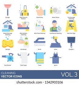 Cleaning icons including plunger, high pressure washer, cleanliness, wash dishes, fire damage, water, after builders, party, last minute, wet floor sign, sponge, handwash, brush, hose, dustpan, blower