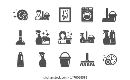 Cleaning icons. Laundry, Window sponge and Vacuum cleaner. Washing machine classic icon set. Quality set. Vector