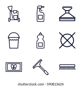 cleaning icons set. Set of 9 cleaning outline icons such as window squeegee, bucket, foot carpet, cleanser