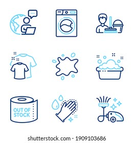 Cleaning icons set. Included icon as Hand washing, Washing machine, Cleaning service signs. Vacuum cleaner, Dirty spot, Toilet paper symbols. Clean t-shirt line icons. Laundry basin, Laundry. Vector
