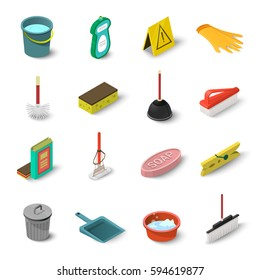 Cleaning icons set. Isometric illustration of 16 cleaning vector icons for web