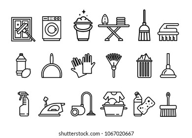Cleaning icons set, washing machine, ironing, gloves, sponge, mop, vacuum cleaner, shovel and other cleaning elements line vector Illustrations on a white background