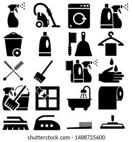 Cleaning icons vector set. Purity illustration symbol collection. Housekeeping illustration sign or logo.